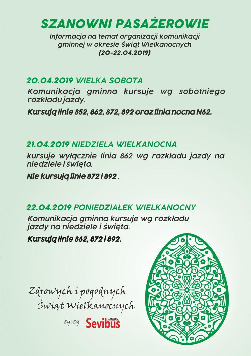 Informacja nt. kursowania komunikacji gminnej w okresie Świąt Wielkanocnych